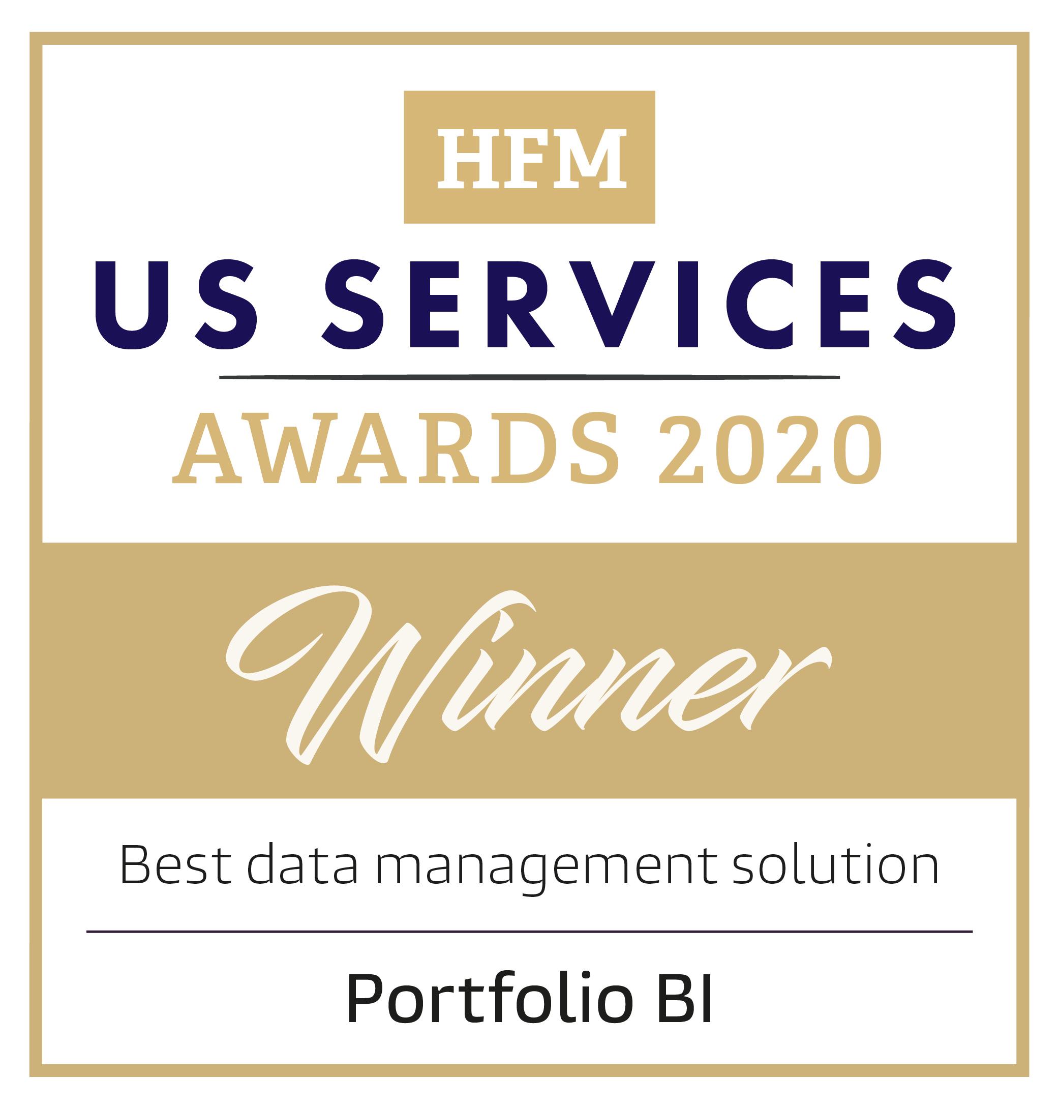 HFM US Services Awards 2020 Winner - Best Data Management Solution - Portfolio BI