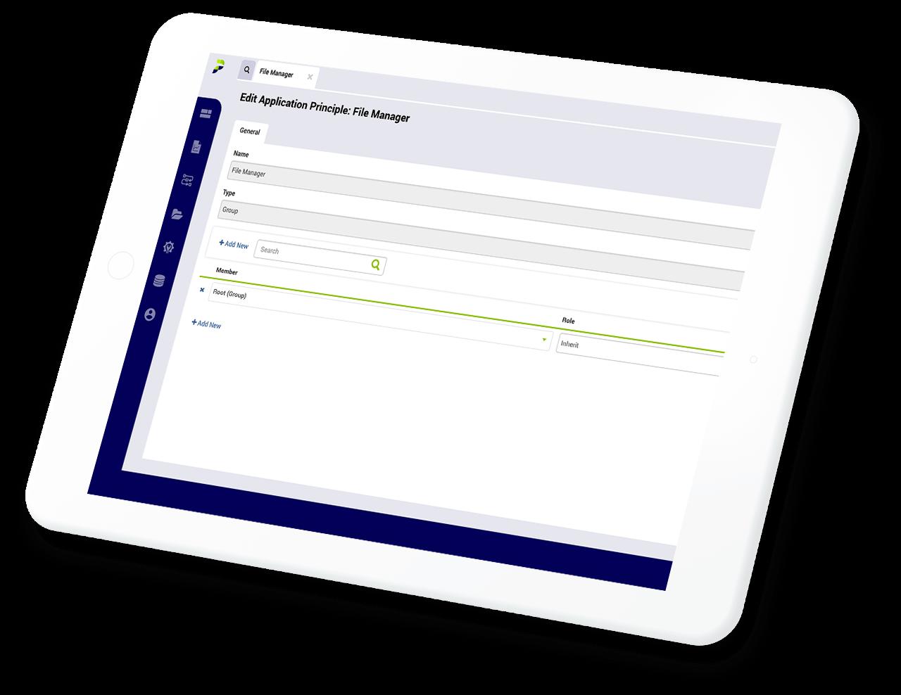 Portfolio BI file manager component on a tablet.