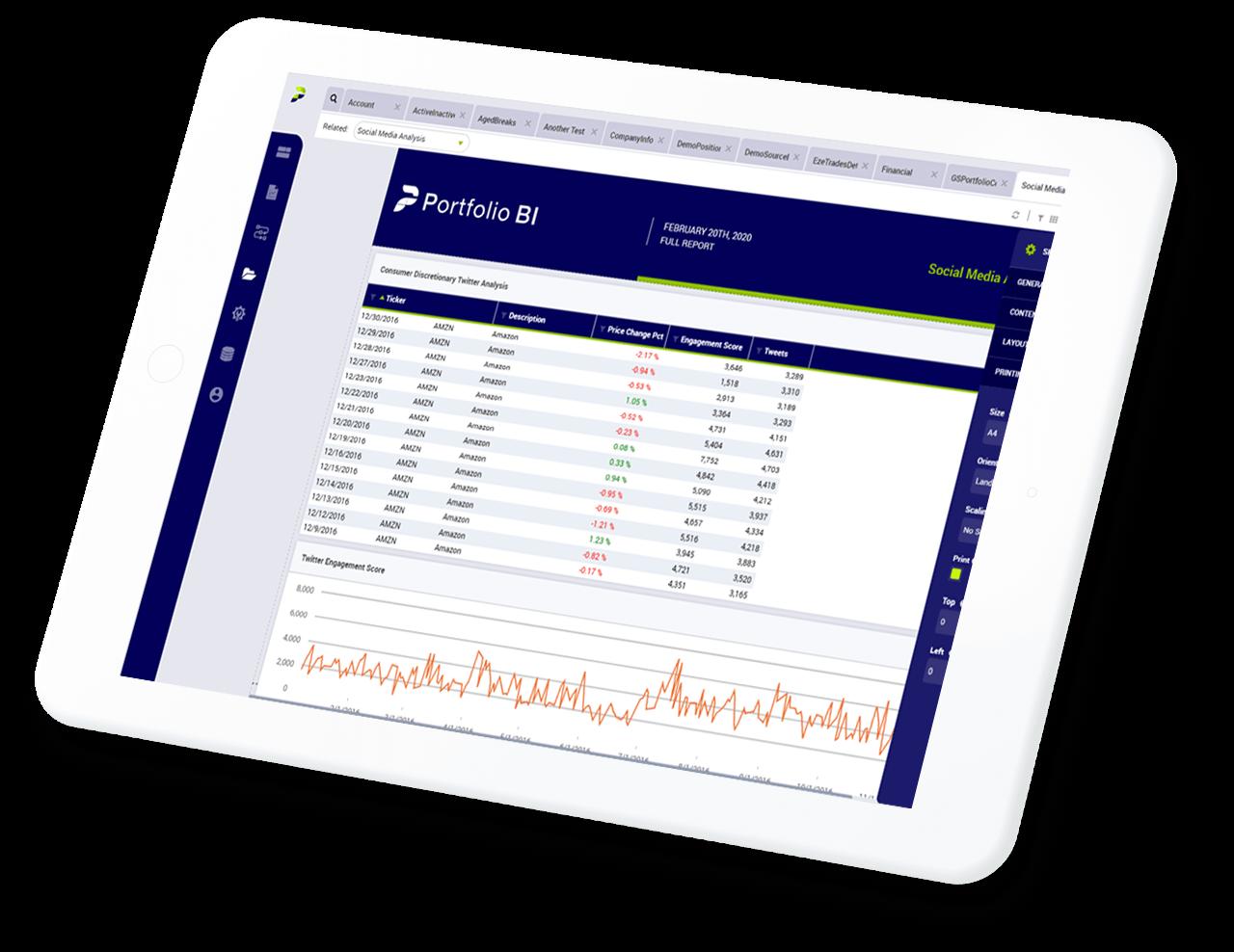 Portfolio BI analyst report on a tablet.