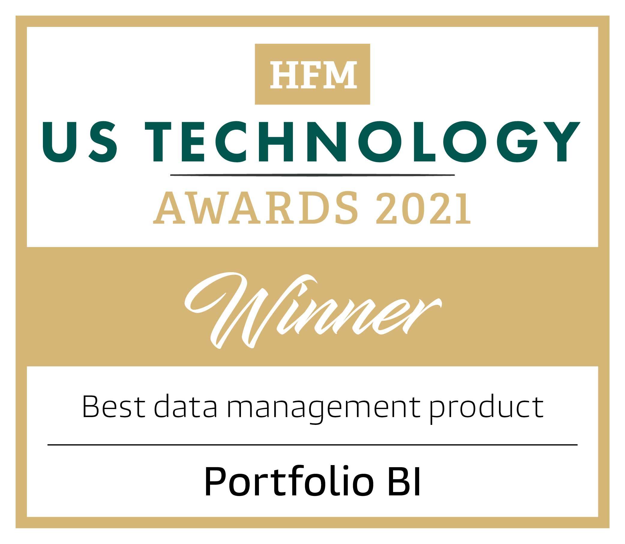 HFM US Technology 2021 Awards Winner Best Data Management Badge
