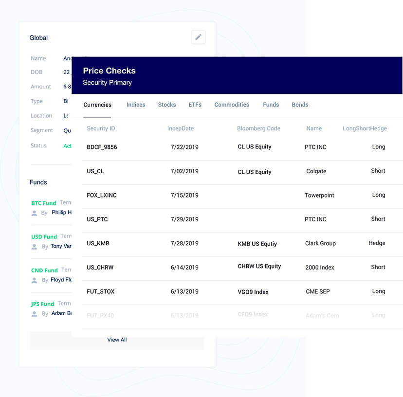 A price checks screenshot from the Portfolio BI price master.
