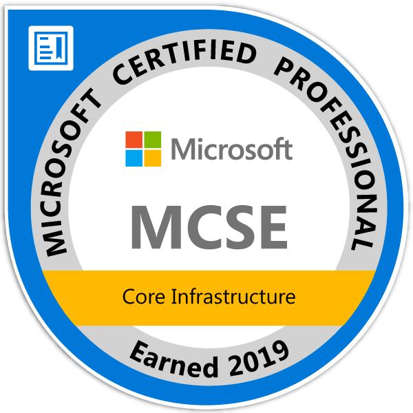 Portfolio BI Microsoft MCSE Core Platform and Infrastructure Certified