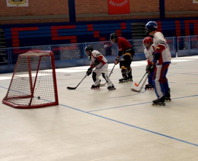 Equipo de hockey entrenando
