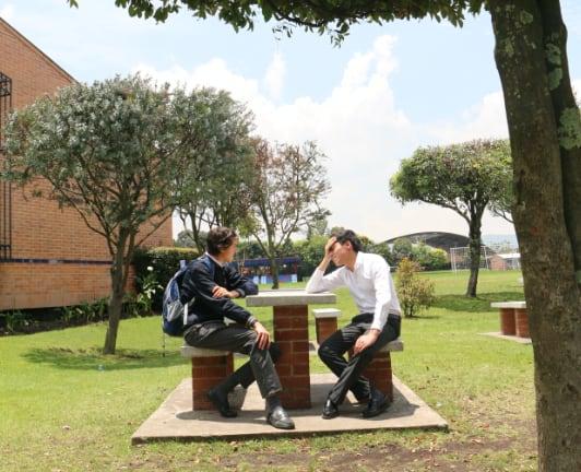 Estudiantes sentados hablando en zonas verdes