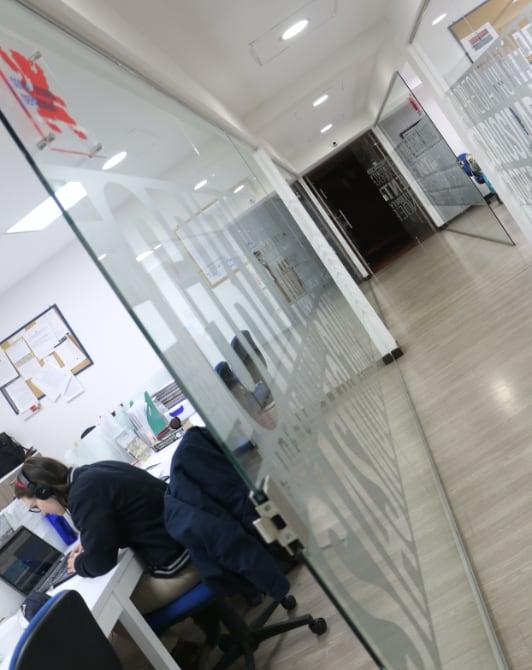 Corredor de las oficinas administrativas