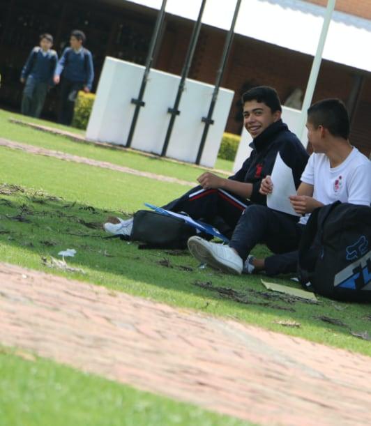 Estudiantes sentados de bajo de un arbol
