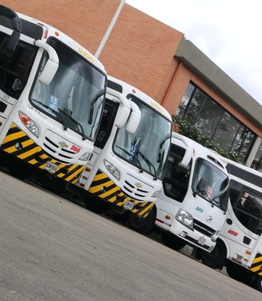 Buses del colegio estacionados