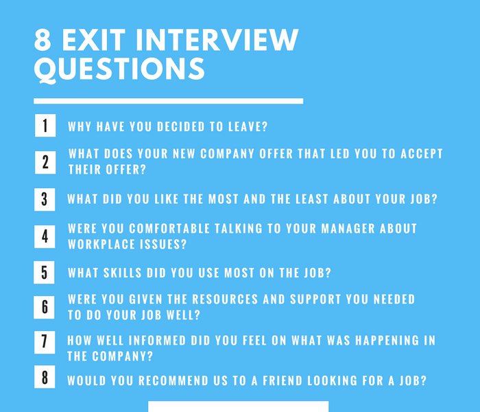 Eight exit interview questions. One, why have you decided to leave? Two, what does your new company offer that led you to accept their offer? Three, what did you like the most and the least about your job? Four, were you comfortable talking to your manager about workplace issues? Five, what skills did you use most on the job? Six, were you given the resources and support your needed to do your job well? Seven, how well informed did you feel on what was happening in the company? Eight, would you recommend us to a friend looking for a job?