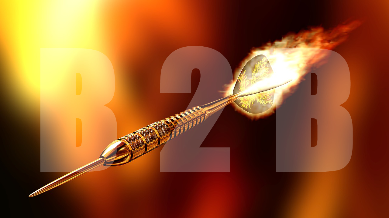 Flaming dart with B2B in background