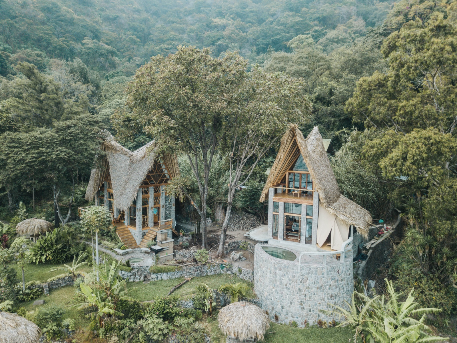 Image of two bungalows in the forest at La Fortuna at Atitlan Boutique Eco Hotel