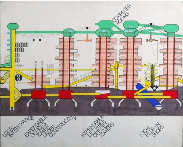 "Figure 1. ""Plug-in city,"" Archigram, 1964"