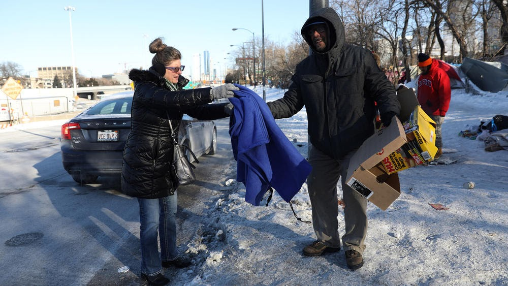 Homeless during bitter cold weather