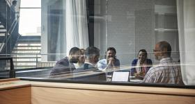PhD students in meeting
