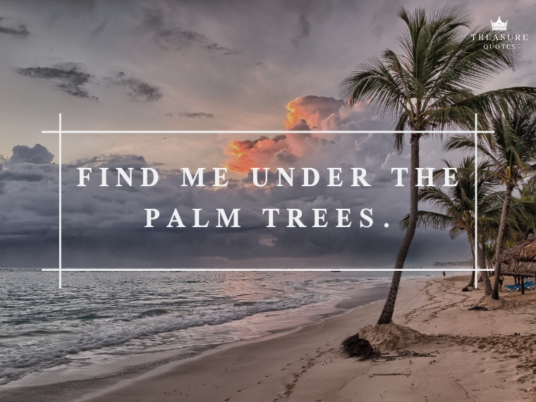 """Find me under the palm trees."""