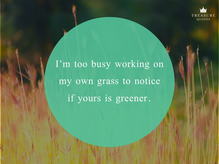 I'm too busy working on my own grass to notice