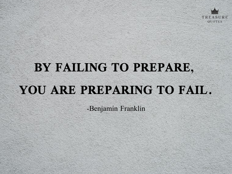 """By failing to prepare, you are preparing to fail."""