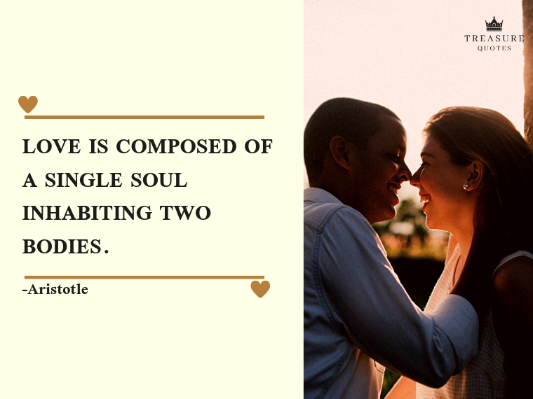 """Love is composed of a single soul inhabiting two bodies."""
