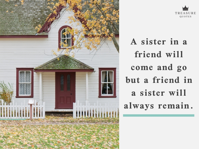 """A sister in a friend will come and go but a friend in a sister will always remain."""