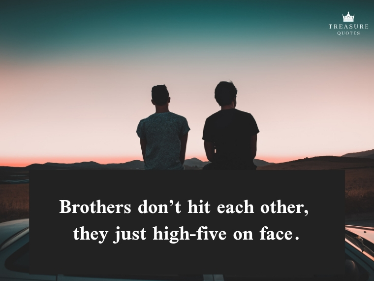 """Brothers don't hit each other, they just high-five on face."""