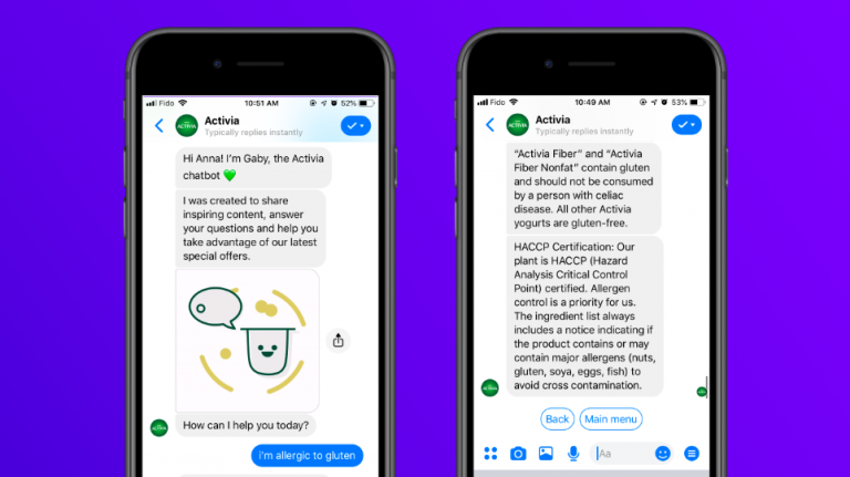 Screenshots of Activia conversational AI assistant interacting with a customer allergic to gluten.