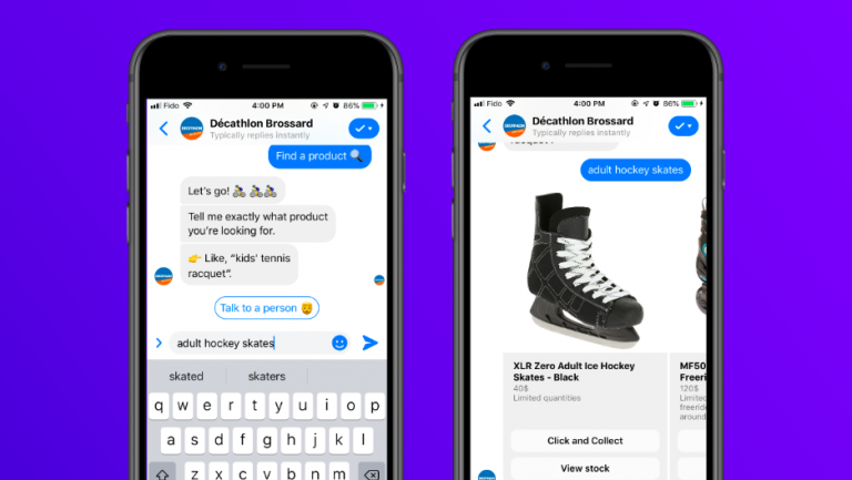 A mobile screenshot of conversational AI featuring Decathlon Brossard, along with a product carousel.