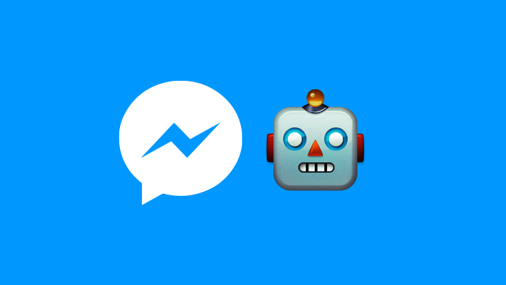 A robot and the Messenger icon in parallel on a blue background.