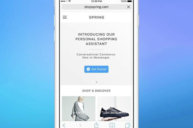A mobile screenshot of the homepage of shopspring.com with an option to connect with a personal shopping assistant.