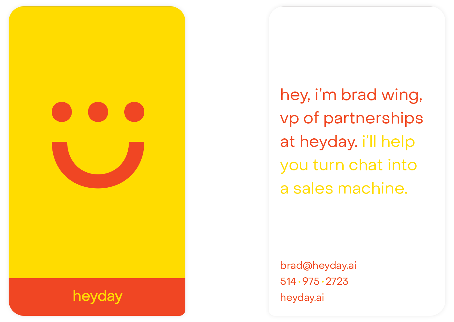 Heyday business cards with the logo and text.