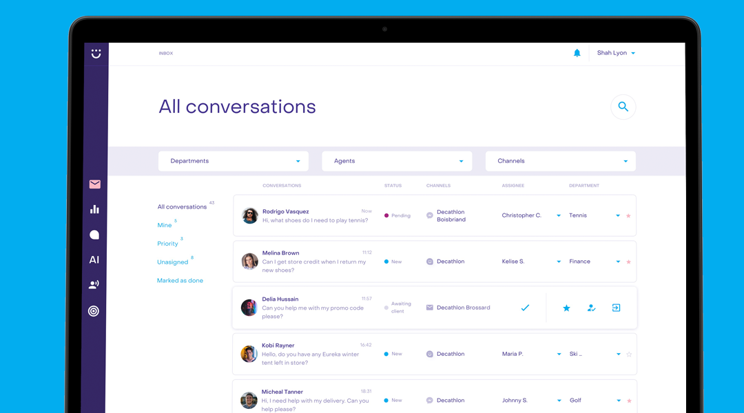 Screengrab of the Heyday dashboard where all conversations are logged.