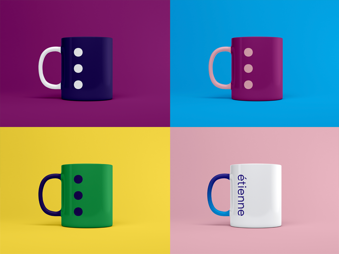 2x2 matrix with 4 mugs in different colours with the company logo