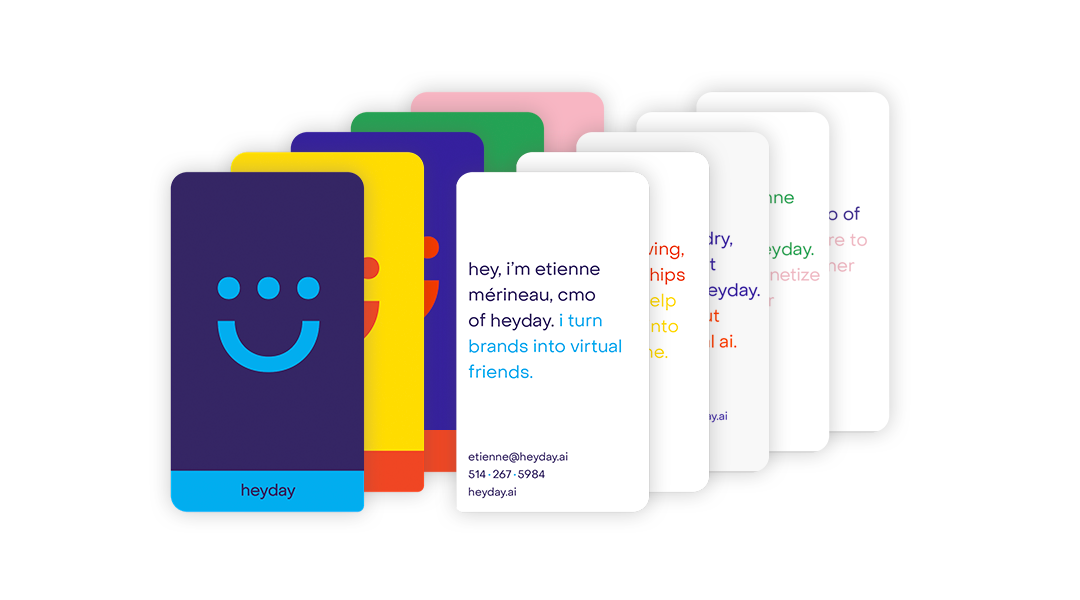 Conversational business cards with Heyday logo and some text.