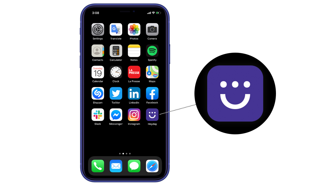 iPhone screen with several app icons along with the Heyday app icon.