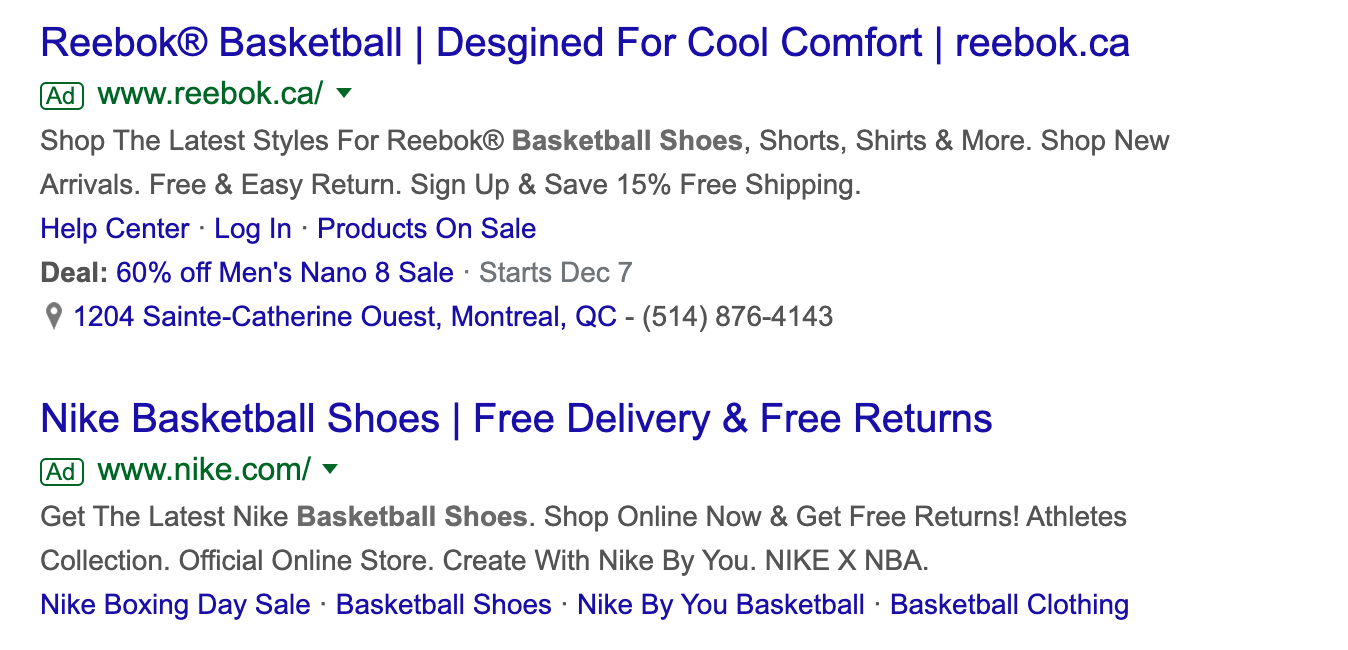 Google ad for Reebok and Nike