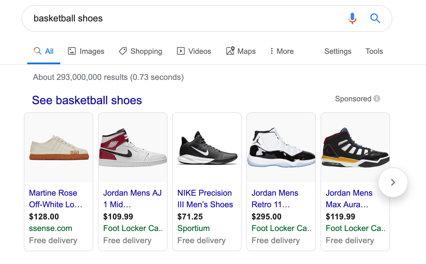 Google shopping product carousel for basketball shoes
