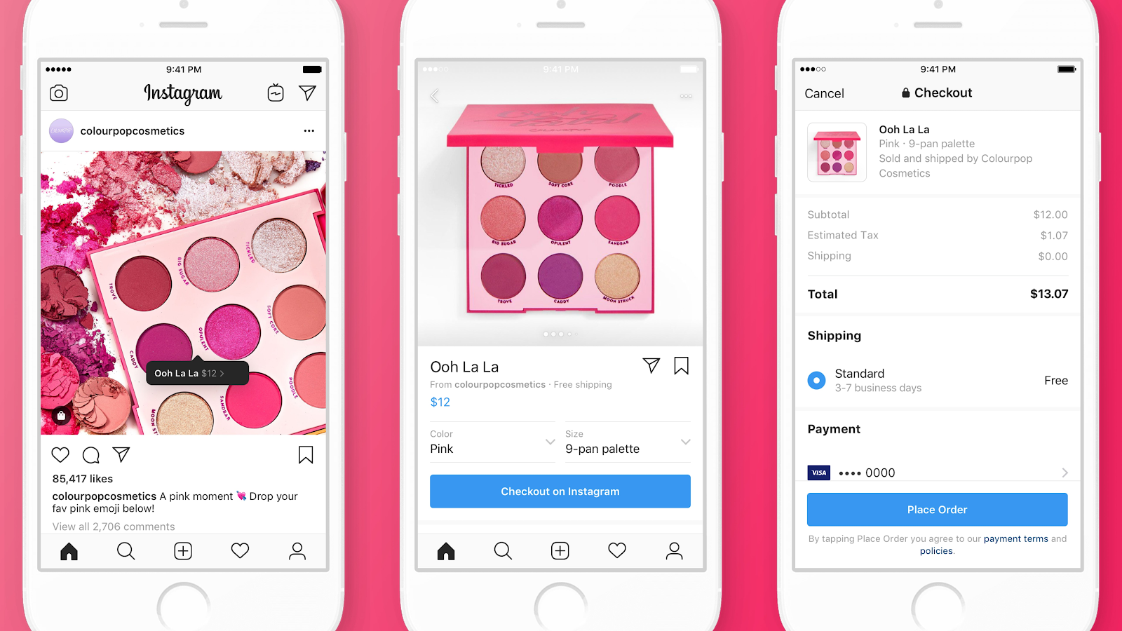 3 screenshots of colorpopcosmetics Instagram post from product to Instagram shopping and checkout.