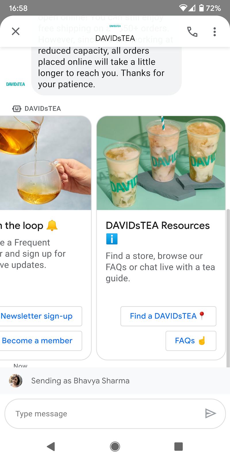 DAVIDsTEA Chatbot_Google Business Messages_Heyday