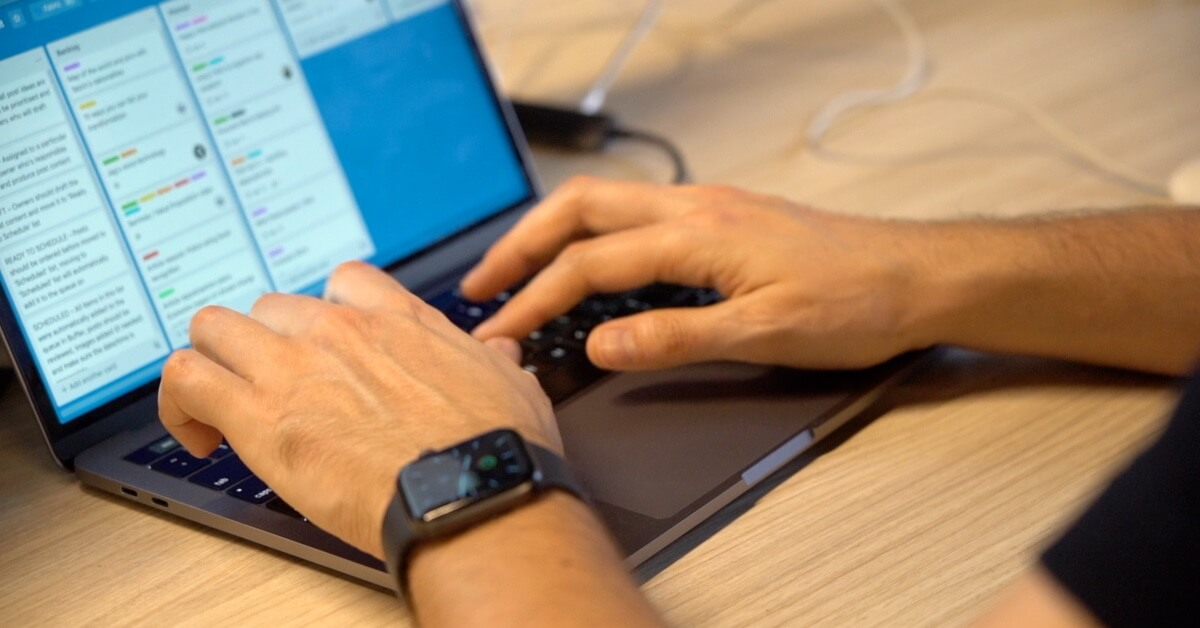 Ruben typing on his laptop