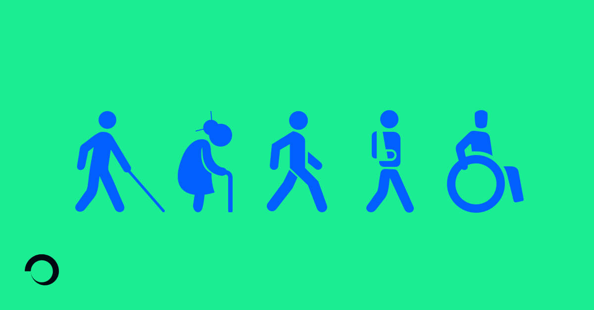 Inclusive Design Illustration, representing different types of impairment or disability. Blind person, Elderly, Injured, Wheelchair user.