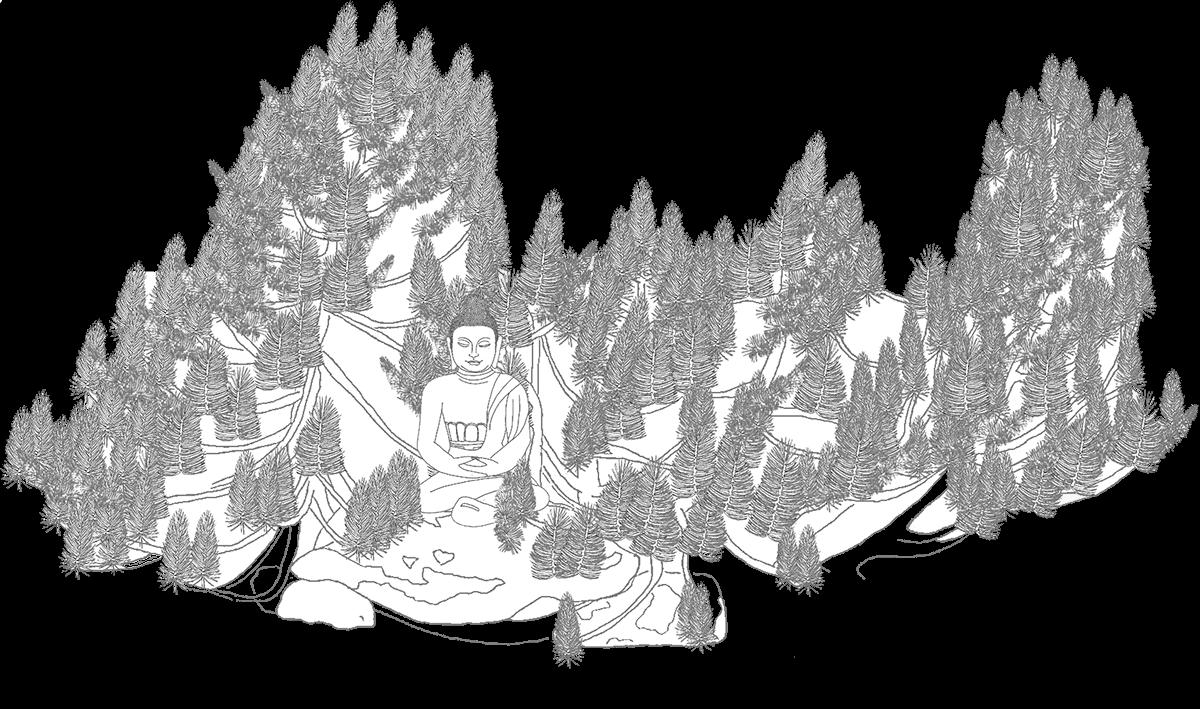 Dharma Sangha Buddha Zeichnung