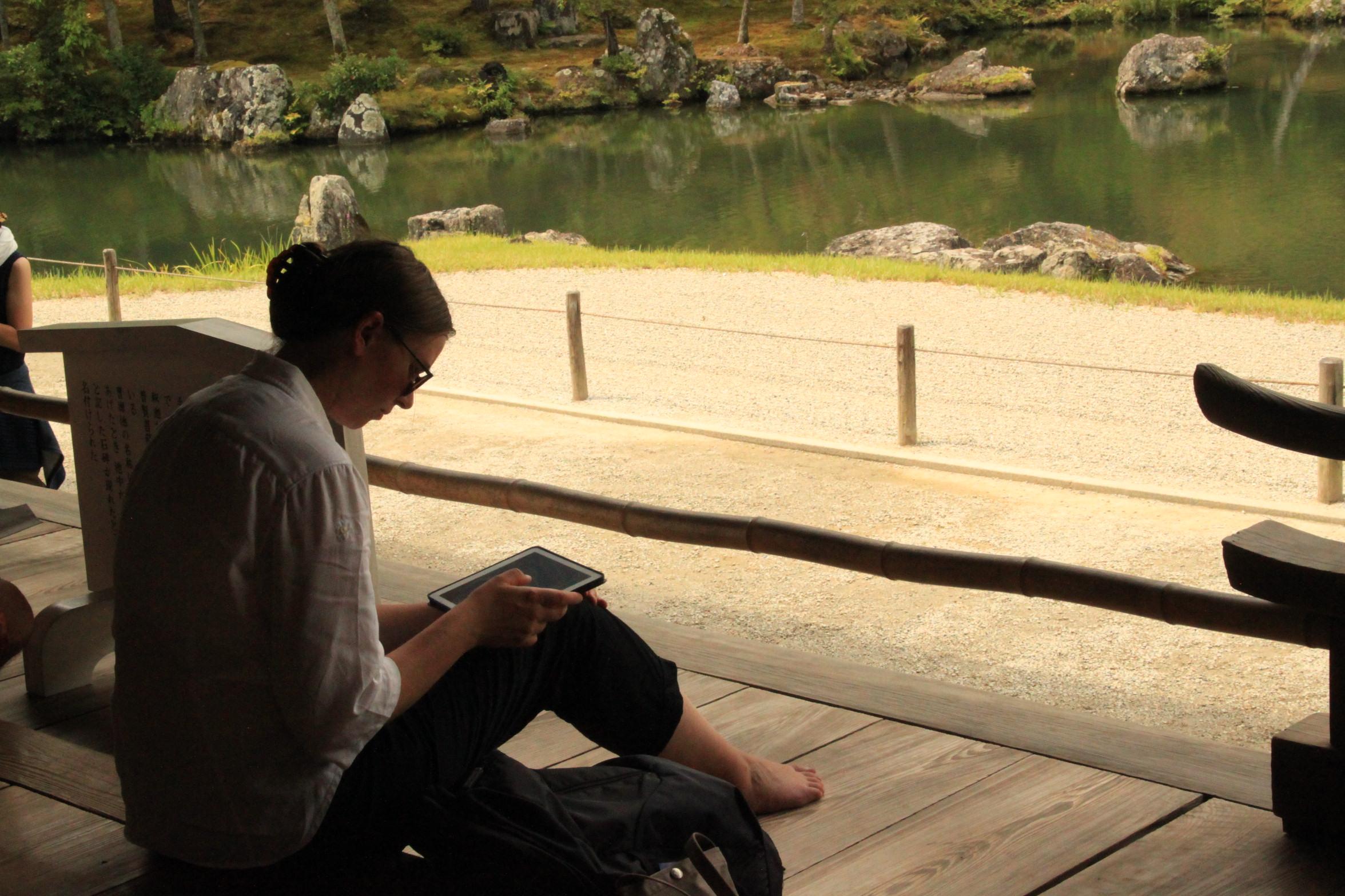 Japan Zen Reise, Tenryuji, japanischer Steingarten, Kyoto, Nicole Baden Roshi