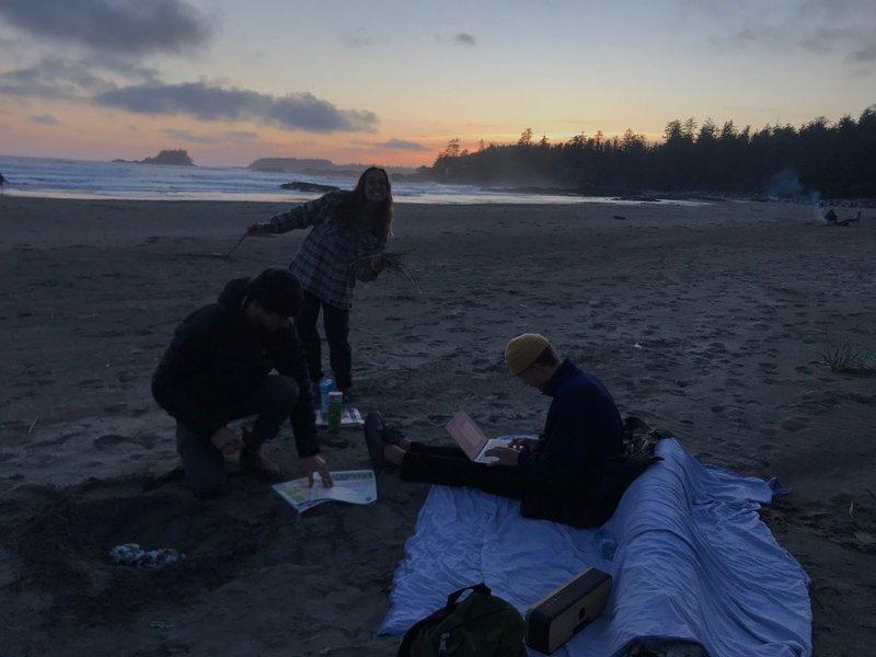 Tofino beach sunset impromptu group picture