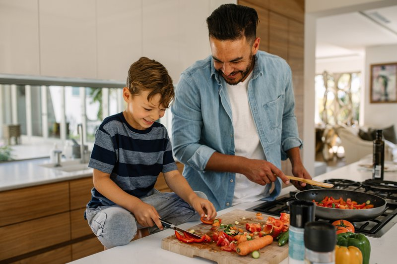 Father and son cooking and baking experience