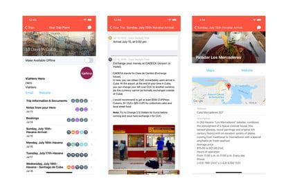 ViaHero UI for trip planning