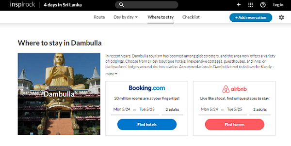 Inspirock integrated accommodation booking through bookings.com or airbnb.