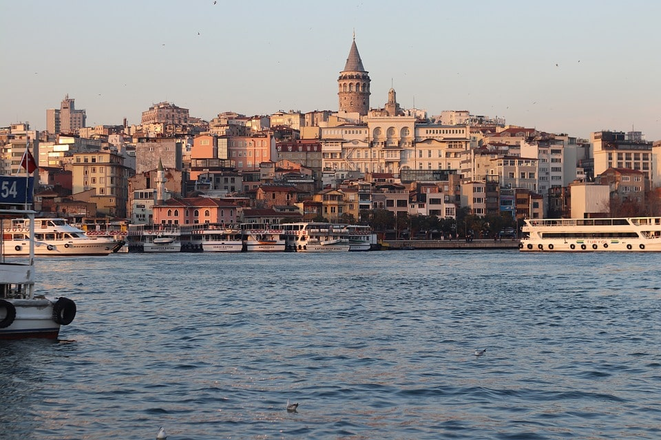 sunset view of Galata Tower Istanbul