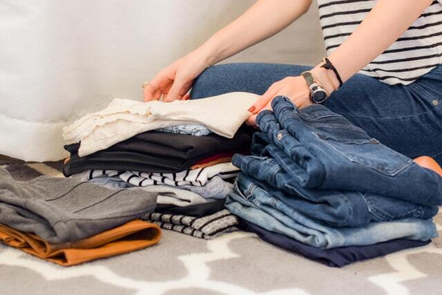 Organizing and packing shirts and pants for travel