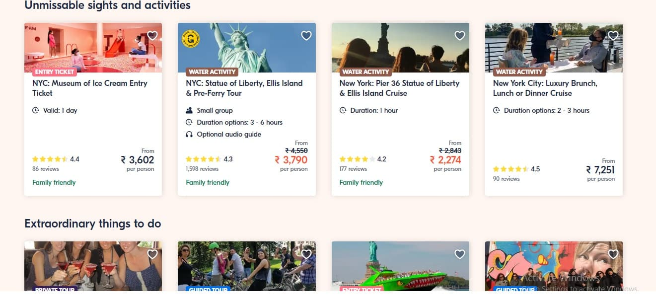 GetYourGuide Tours, sights, activities, and things to do with reviews and price points.