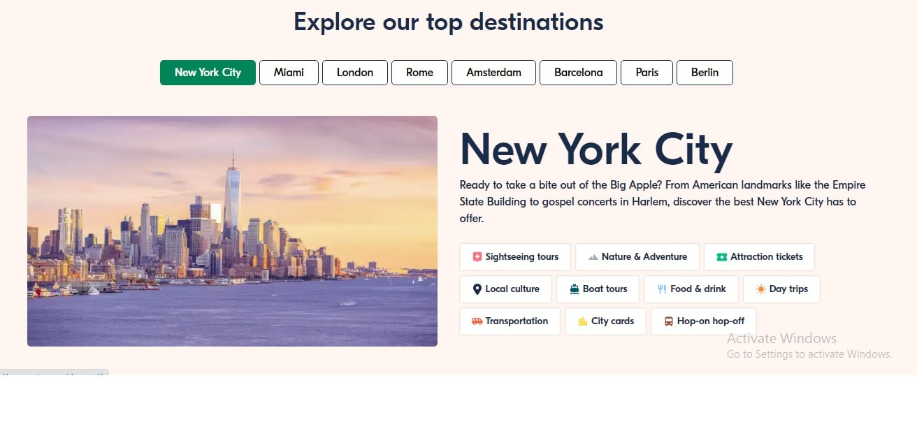 GetYourGuide top destinations New York city with descriptions and city features