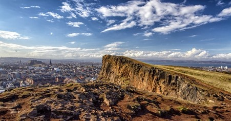 Amazing view from a mountain top in Edinburgh, Scotland.