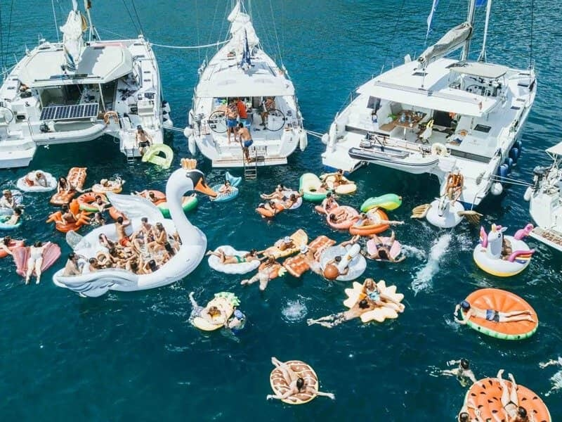 Yacht party at sea with friends